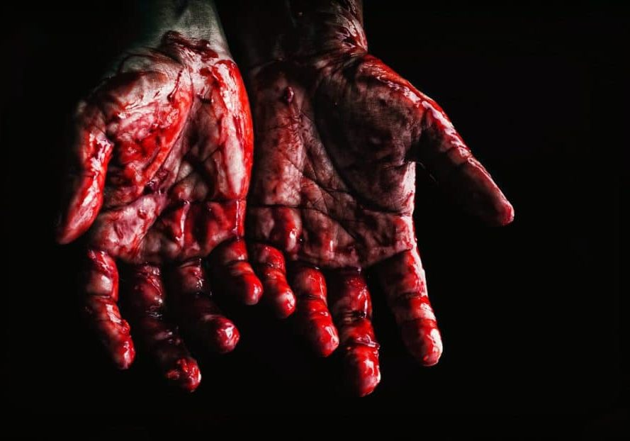Pain image of bloodied hands
